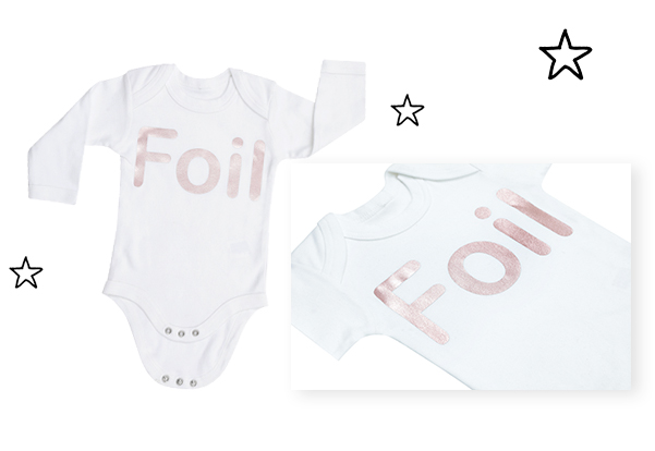 sonality foil to provide a really glossy finish to your personalised and design your own baby and adults clothing