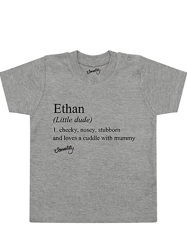 Personalised Name Definition T-Shirt design on children organic t shirt