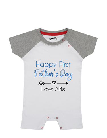 Personalised father's day baby grow baseball romper