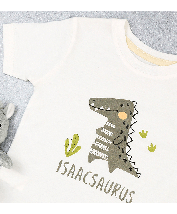 Personalised Dinosaur t shirt zoomed in