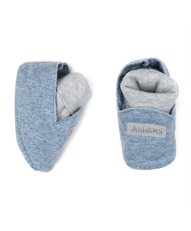Baby booties denim blue
