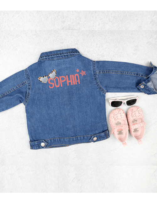 Personalised Baby Denim Jacket Flat Lay