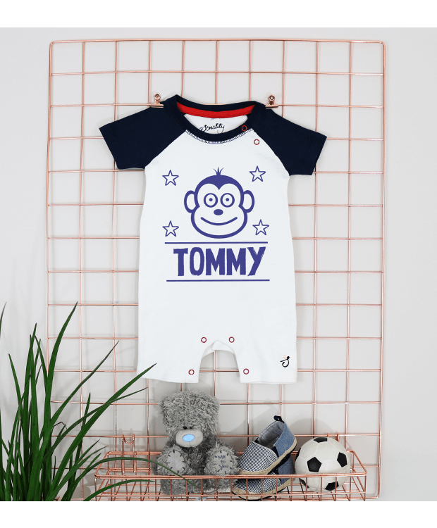 Personalised Baby Romper Grid