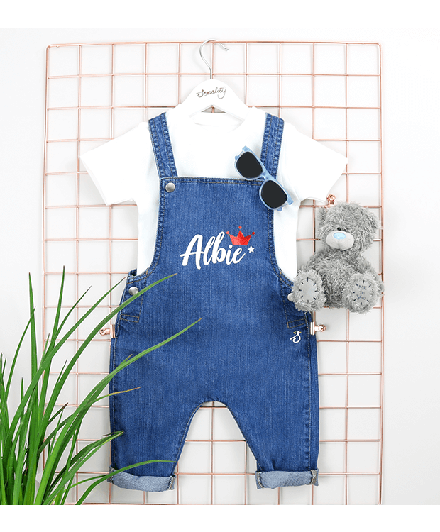 Personalised Denim Dungarees for Babies Front