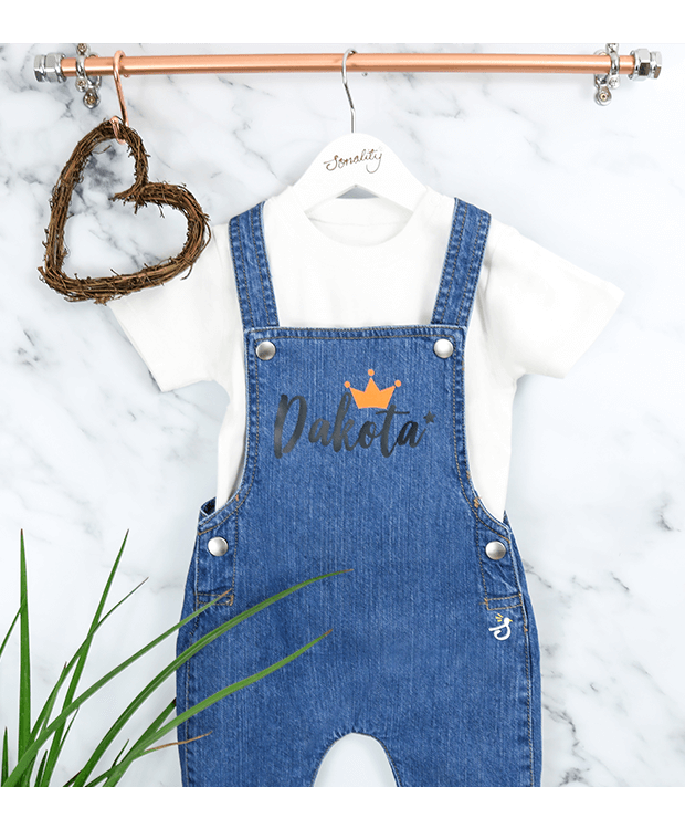 Personalised Denim Dungarees for Babies new