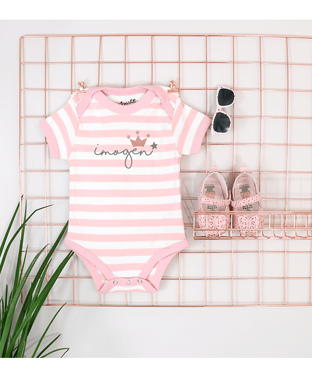 Personalised stripey bodysuit pink