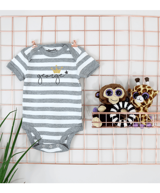 Personalised stripey bodysuit grid