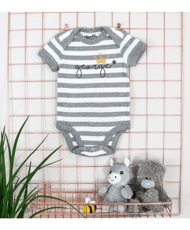 Personalised stripey bodysuit picture