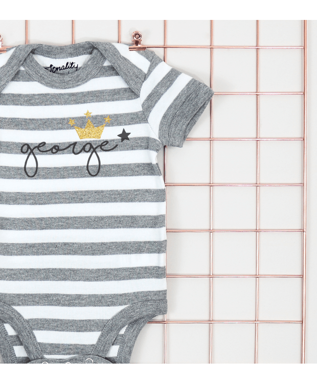 Personalised stripey bodysuit zoom