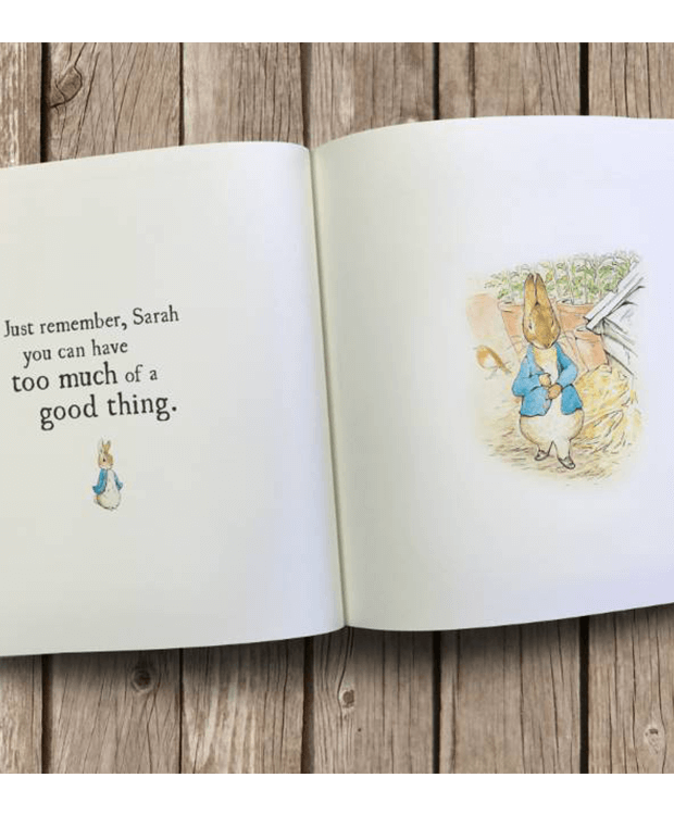 personalised Peter Rabbit book centre page