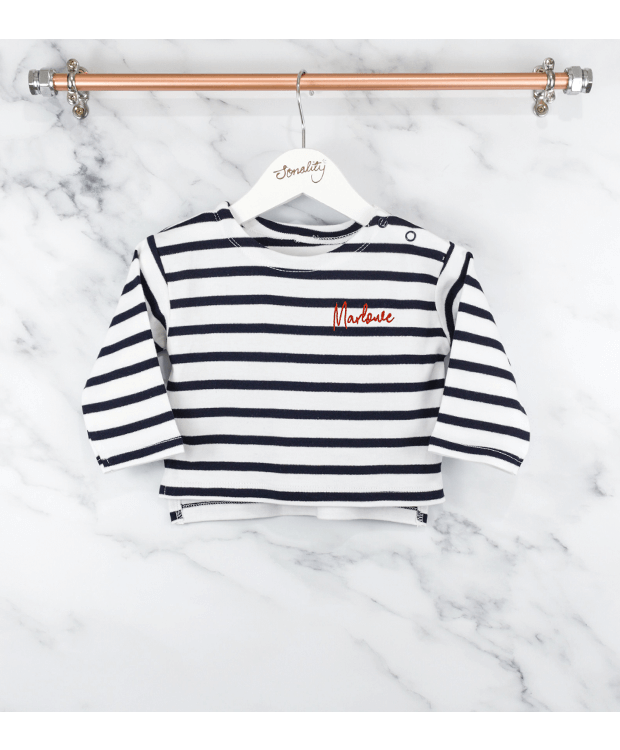personalised baby breton t-shirt hanging