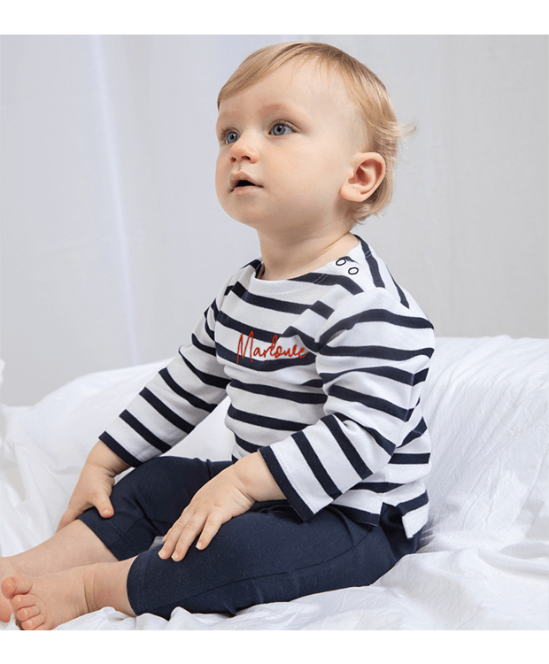 personalised baby breton t-shirt model