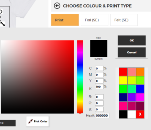 Design Your Own Personalised Baby Clothes colour picker