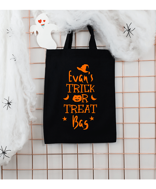 Personalised trick or treat bag hanging