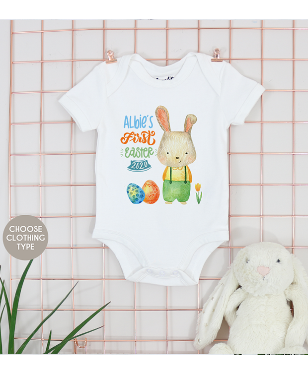 First Easter Watercolour Rabbit bodysuit
