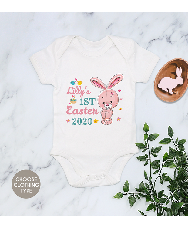 Pink Bunny First Easter Bodysuit