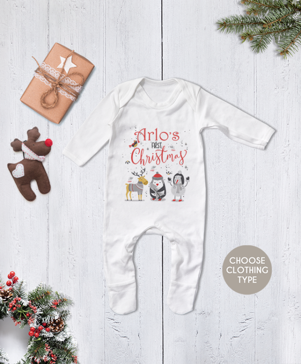 Personalised First Christmas Animal Theme Babygrow