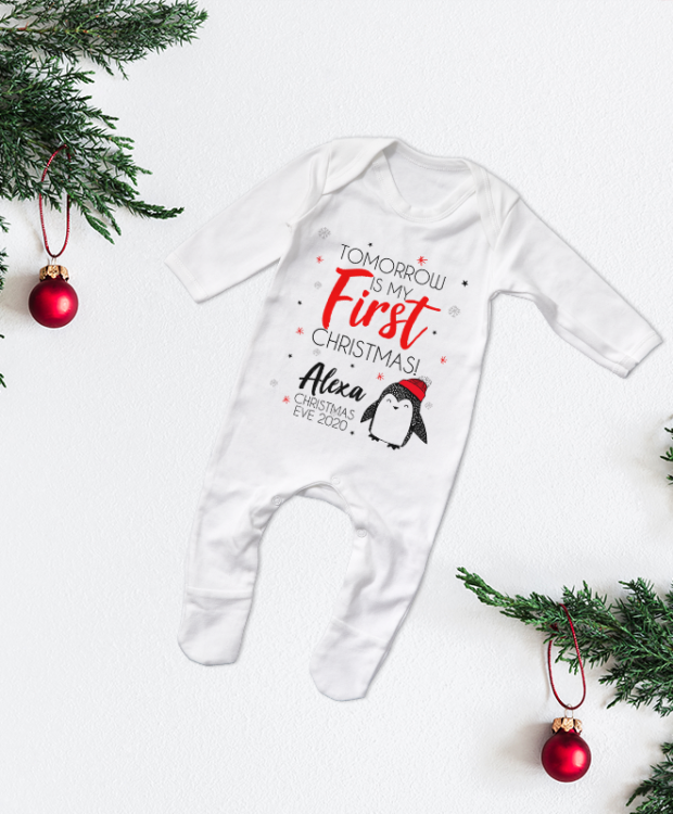 Personalised 'Tomorrow is my first Christmas' Penguin Babygrow