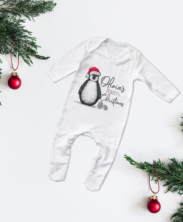 Personalised First Christmas Penguin Sketch Babygrow