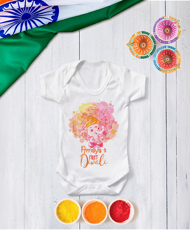Personalised Colourful First Diwali Baby Ganesh Babygrow