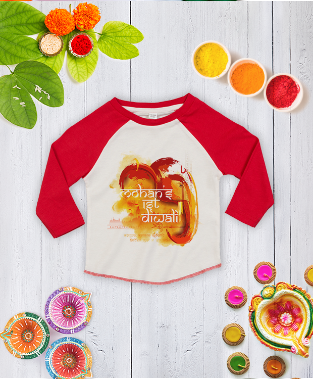 Personalised First Diwali Scenic Elephant Baseball Tee