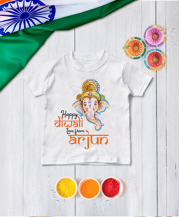 Personalised Happy Diwali Ganesh T Shirt