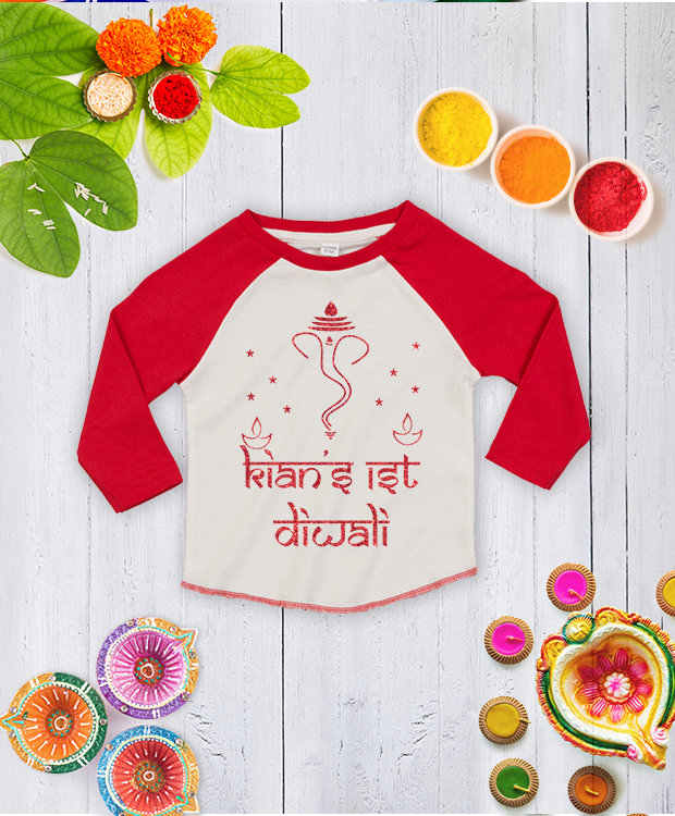 Personalised First Diwali Red Glitter Baseball Tee