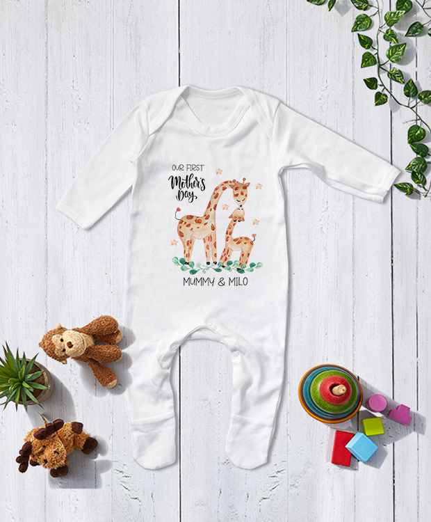 Personalised Mother's Day Babygrow with Giraffe Print product image