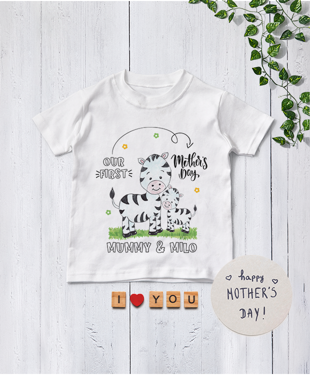 Personalised Mother's Day Babygrow with Baby Zebra product image