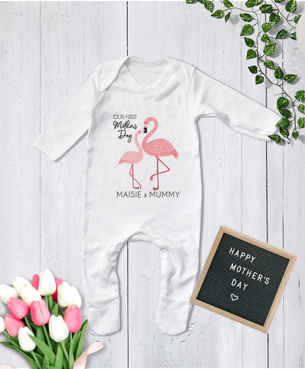 Cute personalised Mother's Day babygrow featuring super sassy Flamingos.