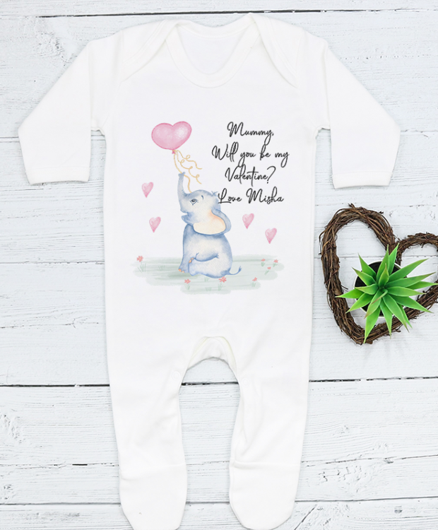 Personalised Elephant Valentines Babygrow featuring a beautiful watercolour elephant